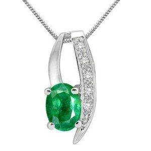 Oval And Round Cut Emerald And 3.75 Carats Diamond